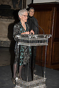 JOAN JONAS, WHITECHAPEL GALLERY ART ICON,; ROSE ENGLISH, Whitechapel Gallery Art Icon Gala, supported by the Swarovski Foundation, Honoring the lifetime achievement of Joan Jonas. Christ Church Spitafields. London.