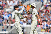 Wicket - Jos Buttler of England congratulates Stuart Broad of England on taking the catch to dismiss Mohammed Shami of India off the bowling of Adil Rashid of England during day 3 of the 5th test match of the International Test Match 2018 match between England and India at the Oval, London, United Kingdom on 9 September 2018.