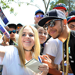 Lewis Hamilton, Mercedes AMG Petronas F1 Team signing autographs and meeting the fans.<br /> Round 1 - Third day of the 2015 Formula 1 Rolex Australian Grand Prix at The circuit of Albert Park, Melbourne, Victoria on the 13th March 2015.<br /> Wayne Neal | SportPix.org.uk