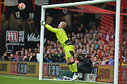 Leicester City's goalkeeper Kasper Schmeichel punches away free kick during the Barclays Premier League match between Bournemouth and Leicester City at the Goldsands Stadium, Bournemouth, England on 29 August 2015. Photo by Mark Davies.