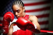 6/24/11 2:35:06 PM -- Colorado Springs, CO. -- A portrait of U.S. Olympic lightweight boxer Queen Underwood, 27, of Seattle, Wash. who will be competing for her fifth title. She began boxing in 2003 and was the 2009 Continental Champion and the 2010 USA Boxing National Champion. She is considered a likely favorite to medal at the 2012 Summer Olympics in London as women's boxing makes its debut as an Olympic sport. -- ...Photo by Marc Piscotty, Freelance.