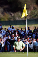 18 February 2007: Phil Mickelson lines up his ball on the 10th hole, second playoff round during the final day of the Nissan Open PGA golf tournament at the Riviera Country Club in Los Angeles, CA.