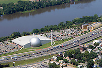 Aerial of the Naismith Basketball Hall of Fame along the Connecticut River, Springfield, MA