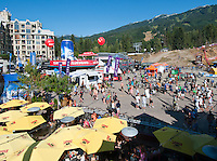 Whistler Village bustles with activity and visitors during the CrankWorks festival in the summer, 2010