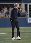 Aug 25, 2017; Seattle, WA, USA; Seattle Seahawks coach Pete Carroll reacts during a NFL football game against the Kansas City Chiefs at CenturyLink Field. The Seahawks defeated the Chiefs 26-13.