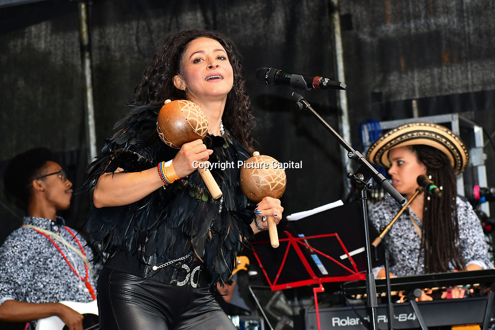 Colombian Singer and Song-writer Angelica Lopez and her band with Elaine Wara pianist performs at the La Clave Fest 2019: Free Latin Festival in London with live performances great food and drinks and beautiful people at Finsbury park on 3 August 2019, London, UK.