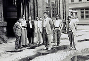 Japan 1960s sake resellers visit a factory industrial complex