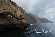 A ship anchors off the coast of Isabela island, part of the Galapagos islands of Ecuador.