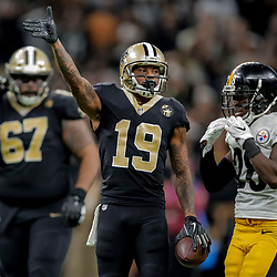 Dec 23, 2018; New Orleans, LA, USA; New Orleans Saints wide receiver Ted Ginn Jr. (19) celebrates after a first down against the Pittsburgh Steelers during the fourth quarter at the Mercedes-Benz Superdome. Mandatory Credit: Derick E. Hingle-USA TODAY Sports