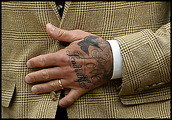 Image ©Licensed to i-Images Picture Agency. 28/06/2014, Wimbledon, London, United Kingdom. David Beckham's tattooed  hand  in the Royal box on Day 6 of the Wimbledon Tennis Championship. Picture by Andrew Parsons / i-Images