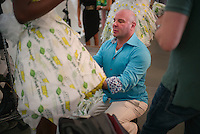 Sept. 11, 2013 - New York, NY - Designer Danilo Gabrielli with his collection of outfits made out of  Subway sandwich accessories for the Project Subway fashion show at Chelsea Piers.<br /> (Photo by Robert Caplin)