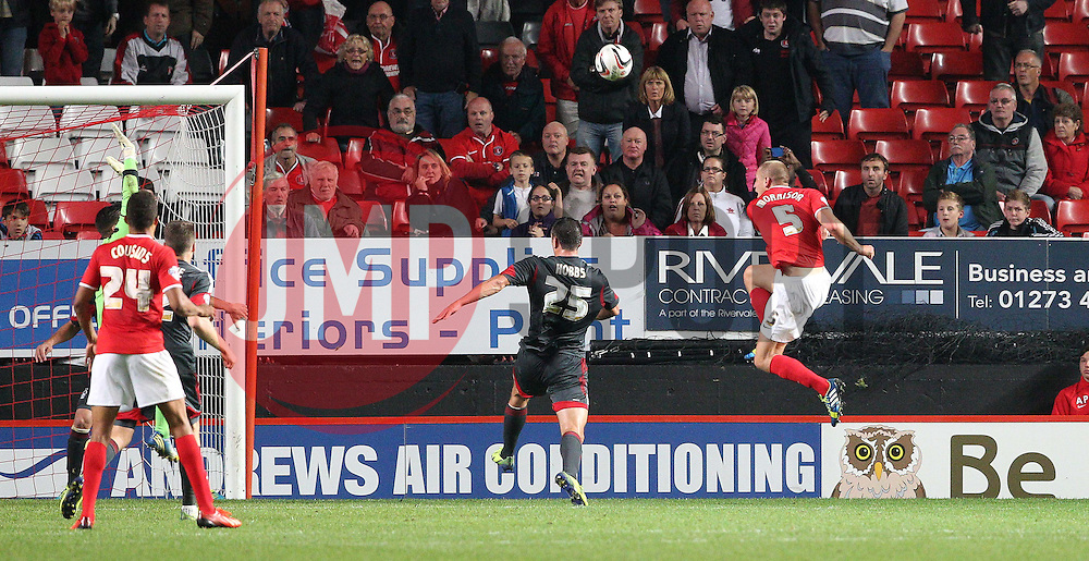 Charlton Athletic's Michael Morrison shoots over looking for the winner - Photo mandatory by-line: Robin White/JMP - Tel: Mobile: 07966 386802 01/10/2013 - SPORT - FOOTBALL - The Valley - Charlton - Charlton Athletic V Nottingham Forest - Sky Bet Championship