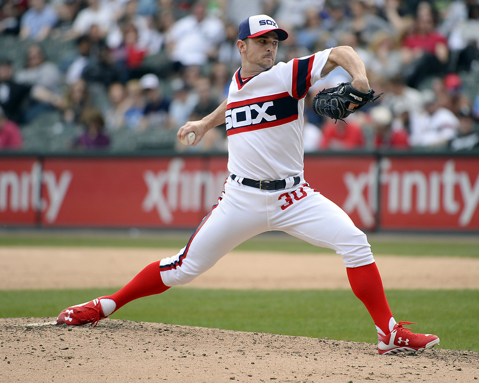 CHICAGO - APRIL 09:  David Robertson #30 of the Chicago White Sox pitches against the Minnesota Twins on April 9, 2017 at Guaranteed Rate Field in Chicago, Illinois.  (Photo by Ron Vesely)   Subject:  David Robertson
