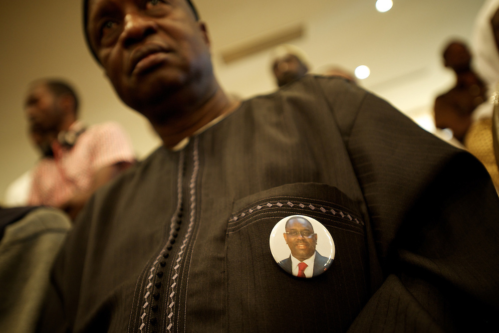 February 29, 2012 - Dakar, Senegal: A senegalese man attends a press conference by the senegalese presidential candidate Macky Sall at Terrou-Bi hotel in central Dakar. According to the provisory results of last Sunday's presidential election, is now confirmed that Macky will be running against the former president and candidate Abdoulaye Wade in a second round of the elections, in a date yet to be defined. (Paulo Nunes dos Santos/Polaris)
