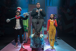 "© Licensed to London News Pictures. 23/11/2018. LONDON, UK. (L to R) Mark Pickering as Cat in the Hat, Scott Paige as Horton the Elephant and Anna Barnes as JoJo perform during the photocall for Immersion Theatre's performance of ""Seussical the Musical"" at Southwark Playhouse.  Shows take place 22 November to 29 December 2018.  Directed by James Tobias, the fantastical world of Dr. Seuss is brought to life in a musical co-conceived by Monty Python's Eric Idle.  Photo credit: Stephen Chung/LNP"