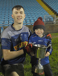 Claremorris&rsquo;s captain James McCormack celebrating the U21 A win with his nephew Darragh McCormack.<br /> Pic Conor McKeown