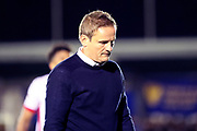 AFC Wimbledon manager Neal Ardley looking towards floor during the EFL Sky Bet League 1 match between AFC Wimbledon and Milton Keynes Dons at the Cherry Red Records Stadium, Kingston, England on 22 September 2017. Photo by Matthew Redman.