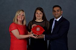NEWPORT, WALES - Saturday, May 19, 2018: Safia Middleton-Patel and family during the Football Association of Wales Under-16's Caps Presentation at the Celtic Manor Resort. (Pic by David Rawcliffe/Propaganda)