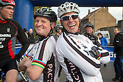 BELGIUM / BELGIQUE / BELGIE / CYCLOCROSS / VELDRIJDEN / CYCLO-CROSS / CYCLING / OVERIJSE / DRUIVENCROSS / GENTLEMEN RACE / FORMER GERMAN CYCLIST MIKE KLUGE ( R ) AND KOEN MONU /