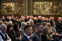 © Licensed to London News Pictures. 05/01/2018. Manchester, UK. Police officers and railway workers who came to the aid of victims in the wake of the terrorist attack at an Arina Grande concert at the Manchester Arena in May 2017 are honoured at a commendation ceremony at the Great Hall at Manchester Town Hall. Amongst those honoured are officers from British Transport Police and Northern Rail staff . Photo credit: Joel Goodman/LNP
