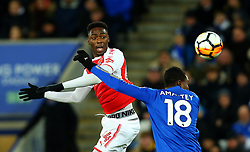 Devante Cole of Fleetwood Town heads the ball past Daniel Amartey of Leicester City - Mandatory by-line: Robbie Stephenson/JMP - 16/01/2018 - FOOTBALL - King Power Stadium - Leicester, England - Leicester City v Fleetwood Town - Emirates FA Cup third round proper
