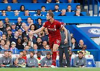 Football - 2018 / 2019 Premier League - Chelsea vs. Liverpool<br /> <br /> Jordan Henderson (Liverpool FC) lets a team mate know he is not happy with his performance at Stamford Bridge <br /> <br /> COLORSPORT/DANIEL BEARHAM