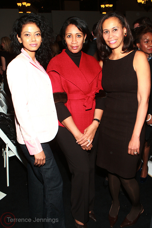 17 February 2011- New York, NY- l to r: Grace Anezia Ali, Guest, and Pamela Newkirk at The 2011 b.Michaels Fall Fashion Show during the 2011 Mercedes Benz Fall Fashion Week held at The Plaza Hotel on February 17, 2011 in New York City. Photo Credit: Terrence Jennings/Ebony.com