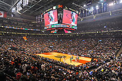 October 19, 2018 - Toronto, Ontario, Canada - panoramic view of the basketball court during the Toronto Raptors vs Boston Celtics NBA regular season game at Scotiabank Arena on October 19, 2018 in Toronto, Canada (Toronto Raptors win 113-101) (Credit Image: © Anatoliy Cherkasov/NurPhoto via ZUMA Press)