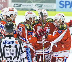 28.09.2012. Stadthalle, Klagenfurt, AUT, EBEL, EC KAC vs SAPA Feherva, 07. Runde, im Bild Thomas Hundertpfund (Kac, #27), John Lammers (Kac, #20), Jamie Lundmark (Kac, #74), David Schuller (Kac, #45) during the Erste Bank Icehockey League 07th Round match betweeen EC KAC and SAPA Fehervar at the City Hall, Klagenfurt, Austria on 2012/09/28. EXPA Pictures © 2012, PhotoCredit: EXPA/ Mag. Gert Steinthaler