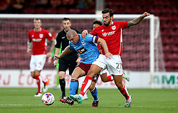Marlon Pack of Bristol City tackles Stephen Dawson of Scunthorpe United - Mandatory by-line: Robbie Stephenson/JMP - 23/08/2016 - FOOTBALL - Glanford Park - Scunthorpe, England - Scunthorpe United v Bristol City - EFL Cup second round