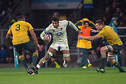 Twickenham, Surrey. UK. Englands, Courtley LAWES go's for the gap between {L} Selope KEPU and Blake ENEVER, during the <br /> England VS Australia, Autumn International. Old Mutual Wealth Series. RFU Stadium, Twickenham. UK<br /> <br /> Saturday  18.11.17<br /> <br /> [Mandatory Credit Peter SPURRIER/Intersport Images]