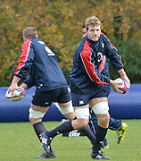 Pennyhill Park. Great Britain,  Facing, Joe LAUNCHBURY . England squad training session at Pennyhill Park, Surrey,  Thursday  22/11/2012   in preparation  for the 2012 Autumn International Series match England vs South Africa  [Mandatory Credit. Peter Spurrier/Intersport Images]