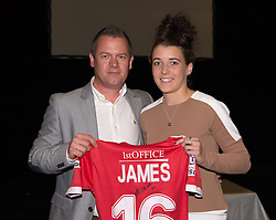 Bristol Academy centre midfielder Angharad James presents a signed shirt to her sponsor Lee Sawyer of DAS - Photo mandatory by-line: Paul Knight/JMP - Mobile: 07966 386802 - 11/10/2015 - Sport - Football - Bristol - Stoke Gifford Stadium - Bristol Academy WFC End of Season Awards 2015