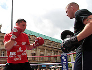 Picture by Richard Gould/Focus Images Ltd +44 7855 403186<br /> 22/06/2013<br /> Tommy Coyle takes part in a public workout at Queen Victoria Square, Hull.