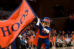 Cav Man welcomes the Virginia Cavaliers to the court.  The Virginia Cavaliers men's basketball team hosted the Clemson Tigers at the John Paul Jones Arena in Charlottesville, VA on February 7, 2008.