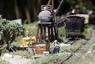 A scene from the garden railroad in the back yard of Gary and Joni Sines.' Their 'Narrow Minded &<br />Clear Cut Logging Co. RR.' was part of the open garden tour for garden railroad clubs from Cincinnati, Columbus and Indianapolis, Sunday, July 15, 2007.