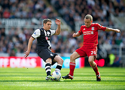 NEWCASTLE-UPON-TYNE, ENGLAND - Sunday, April 1, 2012: Liverpool's Jay Spearing in action against Newcastle United's Dan Gosling during the Premiership match at St James' Park. (Pic by David Rawcliffe/Propaganda)