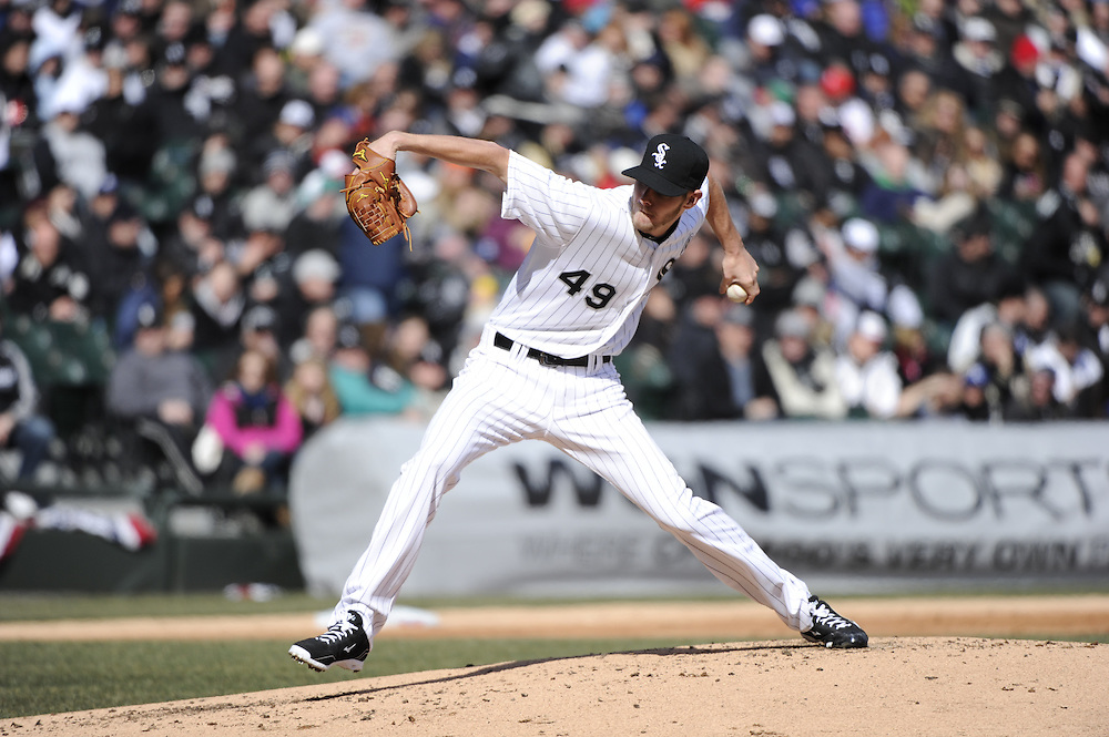 CHICAGO - APRIL 01:  Chris Sale #49 of the Chicago White Sox pitches against the Kansas City Royals on April 1, 2013 at U.S. Cellular Field in Chicago, Illinois.  The White Sox defeated the Royals 1-0.  (Photo by Ron Vesely)   Subject: Chris Sale