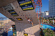 David Olds climbs to overall victory in the Veggi-Fruit Open climbing competition, July 1995, Durban Beachfront, KwaZulu-Natal, South Africa.  Nikon F90, 28-70/3.5.  Fuji RVP Velvia 50.