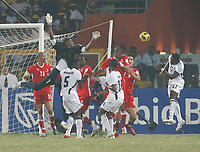 Photo: Steve Bond/Richard Lane Photography.<br />Ghana v Namibia. Africa Cup of Nations. 24/01/2008. Sulley Muntari (R) causes mahem in the 6 yard box with a header