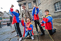 Picture by Chris Watt.  07887 554 193..Artist Martin Creed with ryan Lewis, Shaunie McAvoy, Symone Hutchison and Fraser Grant at the launch of the 'All the Bells project' in Edinburgh