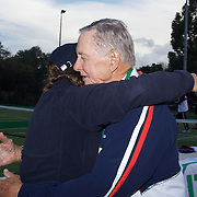 Carolyn Nichols presents her father Graydon Nichols with his Gardnar Mulloy Cup Silver medal during the 2009 ITF Super-Seniors World Team and Individual Championships at Perth, Western Australia, between 2-15th November, 2009.