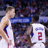 24 March 2014: Los Angeles Clippers forward Blake Griffin (32) talks to Los Angeles Clippers guard Darren Collison (2) during the Los Angeles Clippers 106-98 victory over the Milwaukee Bucks at the Staples Center, Los Angeles, California, USA.
