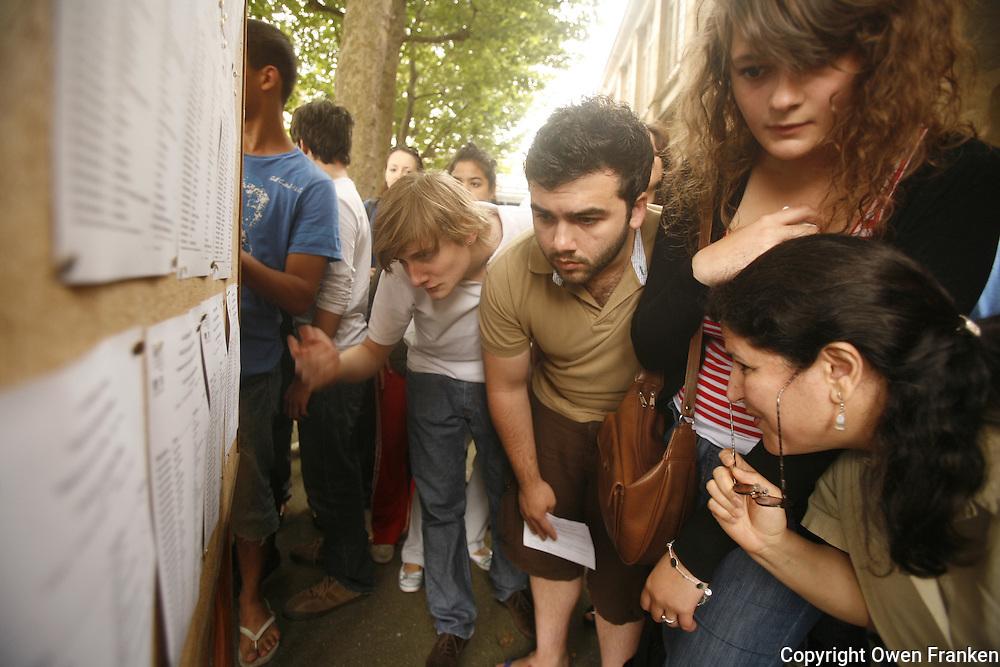 highschool students in paris receive their test results for their Baccalaureate...photo by Owen Franken..www.owenfranken.com