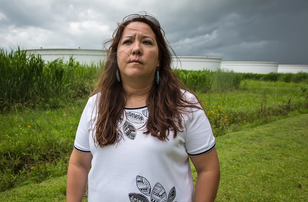 Kandi Mossett<br />  with the  Indigenous Environmental Network, who along with others from North Dakota and Bold Louisiana director, Cherri Foytlin met in St James Louisana, the area where the Bayou Bridge Pipeline will end if built. Dallas Goldtooth, came for the start of the L&rsquo;eau Est La Vie Camp.