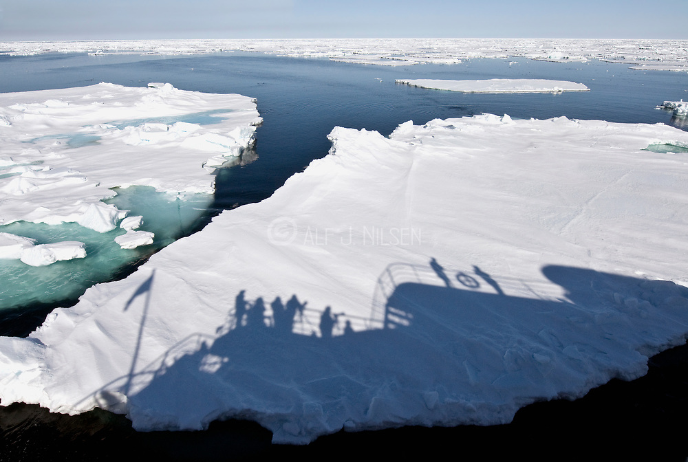"""The expedition vessel """"POlar Star"""" passes through pack ice at 80-degrees north off Spitsbergen, Svalbard"""