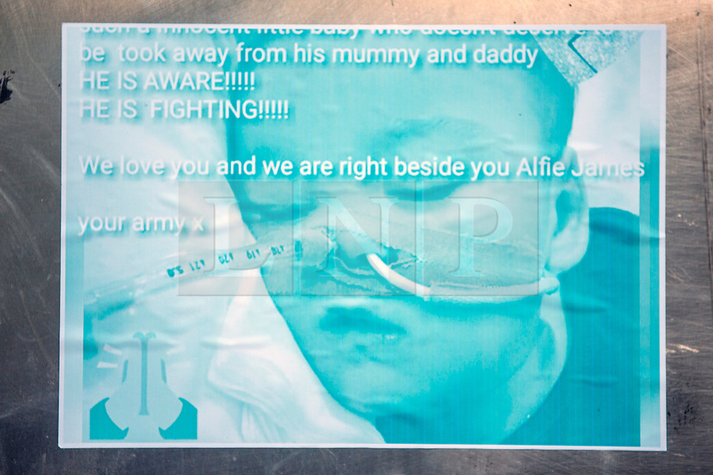 """DATE CORRECTION - IMAGES SHOT TODAY © Licensed to London News Pictures. 07/02/2018. Picture shows messages of support for Alfie Evans on a telephone box outside Liverpool Civil & Family Court this morning. Tom Evans and Kate James from Liverpool are in dispute with medics looking after their son 19-month-old son Alfie Evans, at Alder Hey Children's Hospital in Liverpool. Alfie is in a """"semi-vegetative state"""" and had a degenerative neurological condition doctors have not definitively diagnosed. Specialists at Alder Hey say continuing life-support treatment is not in Alfie's best interests but the boy's parents want permission to fly their son to a hospital in Rome for possible diagnosis and treatment. Photo credit: Andrew McCaren/LNP"""