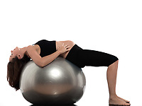 pregnant caucasian woman exercise stretching isolated studio on white background