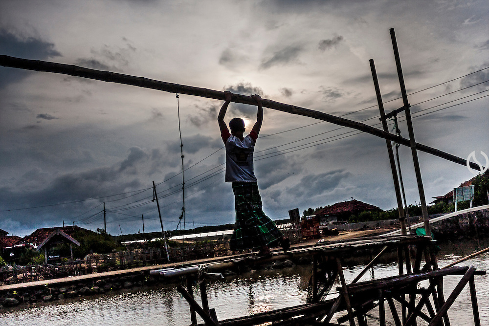 A villager pull a fishing net on a river in Bedono village.