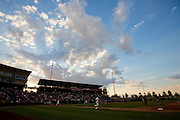 Clouds form over Hammons Field, home of the Springfield Cardinals, during a game between the Arkansas Travelers and the Springfield Cardinals on July 25, 2012 in Springfield, Missouri. (David Welker/Four Seam Images)
